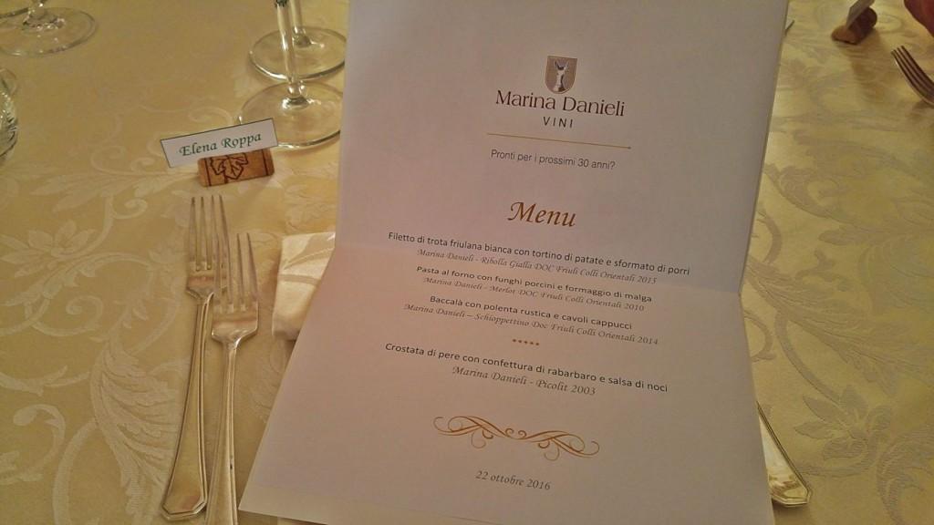 Il menu della cena a seguito della degustazione dei vini di Marina Danieli
